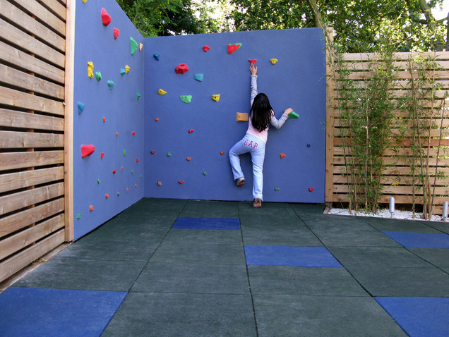 Perhaps add a climbing wall to a garden fence?