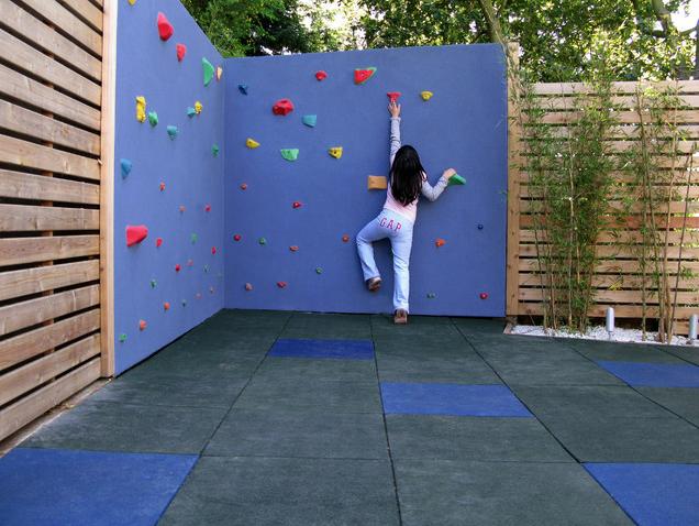 Perhaps add a climbing wall to a garden fence?
