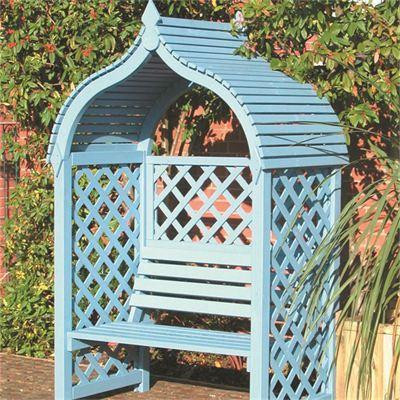 A painted wooden arbour