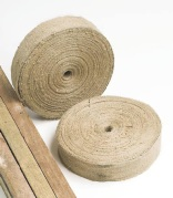 Jute tree ties- softer than plastic/rubber belts, so good where stems are tender/thin. Biodegradeable.