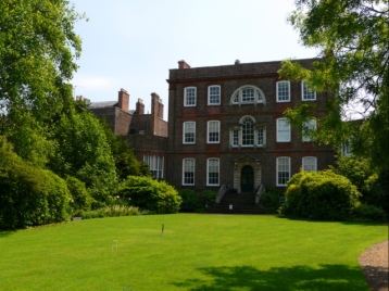 The rear of the hous with the Croquet lawn in front- surrounded by some glorious trees such as the Tulip Tree (Liriodendron tulipifera)
