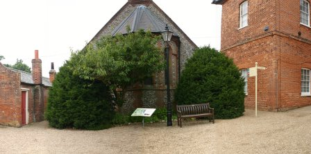 The 'Yew Tree border' in front of the chapel- before the Yews were reduced