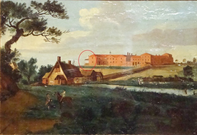 Early painting of Gressenhall Workhouse (Kerrison) with windmill ringed in red