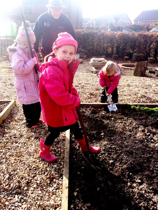 Children love to dig- set aside an area for digging, to use those idle moments and hone skills!