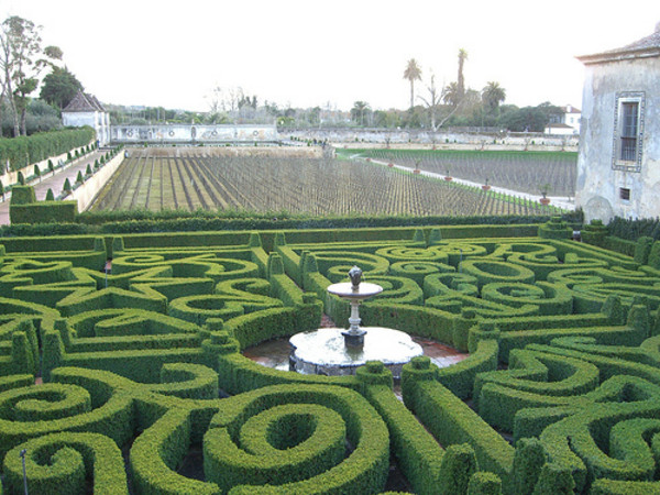 Complex parterres at Quinta da Bacalhoa, a superb example of an early renaissance Poprtuguese garden