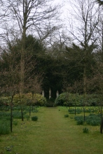 woodland glade with statuary focal point