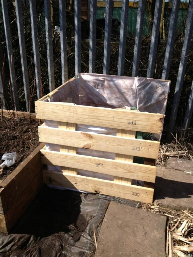 Compost bin lined with old builders bag by Liz Ackerly (and hubby)