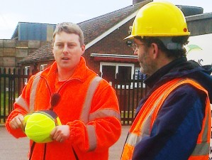 Our second fluorescent-jacketed guide plus David Hawkyard, norfolk Master Composter co-ordinator