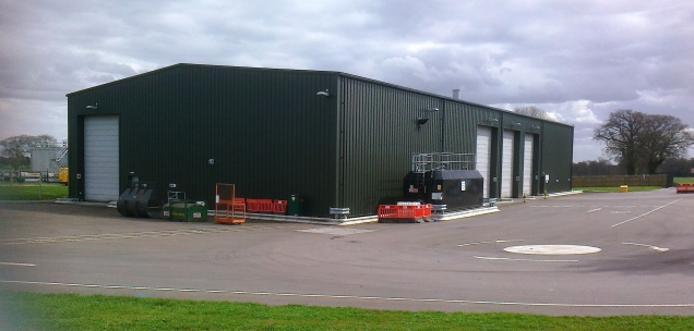 The main builduing where organic waste is received and the 'cooking' process begins