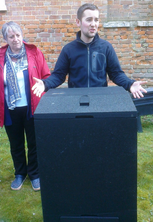 David Garrett from Garden Organic explaing how a 'Hot Bin' works