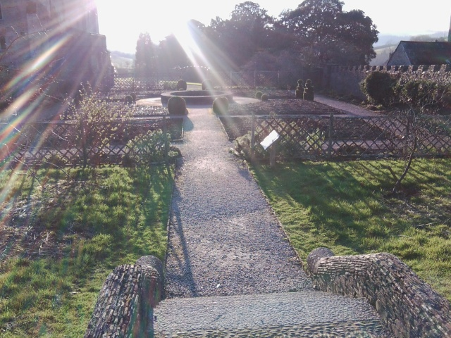 The afternoon sun in late winter falls across one of the gardens at Buckland Abbey