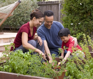 Try incorporating space for growing food or other plants as a family