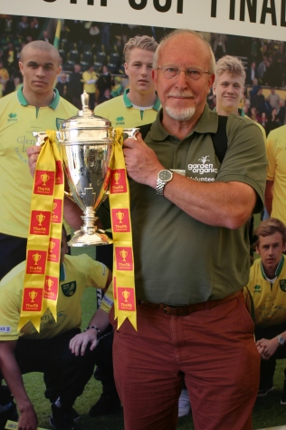 Yours truly holding the F.A. Youth Cup (Soccer), which my team, Norwich City, won this year! Come on you yellows....