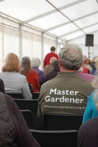 Master Gardener- reverse view (not me, much too much hair)