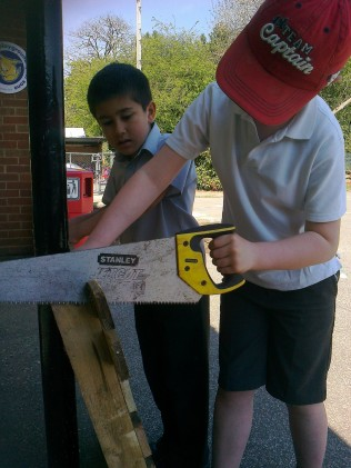 Sawing off the ends and removing some slats