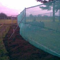 Net windbreak around a new fruit garden at a Norfolk School