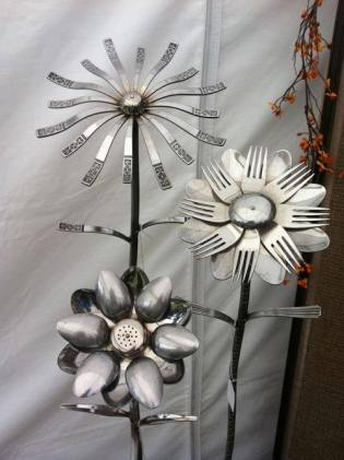 forks, spoons and what not- tasteful garden art