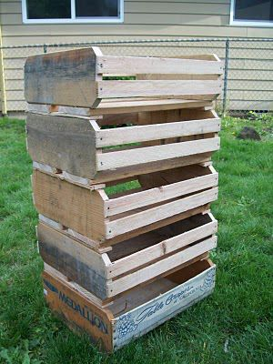 Fruit crates from pallets: http://endofordinary.blogspot.ca/2010/05/how-to-make-fruit-crates-from-pallets.html