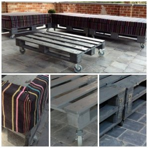 Pallets make a handy moveable seating and table set