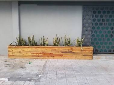 A box planter made from pallets