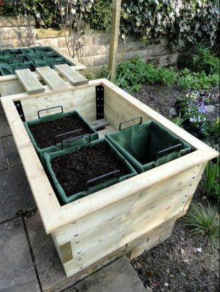 One sort of raised bed- with removable containers