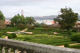 The April 25th Bridge in the distance over the River Tagus
