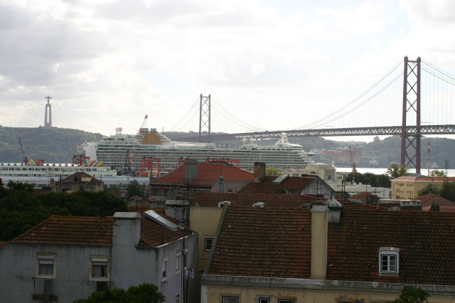 The view to the River Tagus from the front of the Neccessidades Palace in Lisbon