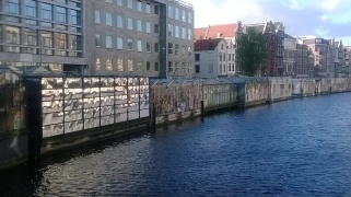 Rear of the Flower Market alongside one of Amsterdam's canals- once these were floating stalls, now very much more permanent