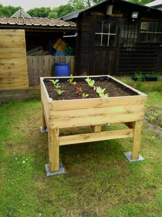 Raised planter from pallets old school garden for Planters made out of pallets