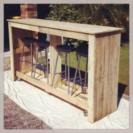 A mobile bar - stools stowed underneath..