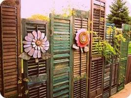 Old shutters used for decorative screening/fencing