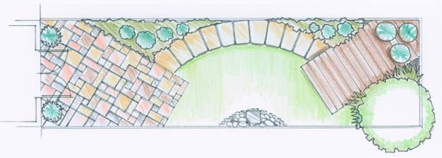 A design for a long and narrow garden which shows paving placed at an angle to the sides, plus a curved path -these help to widen the impression of the space