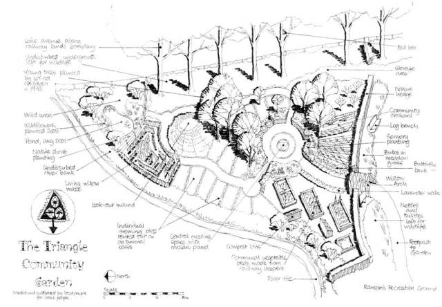 A design for a triangular community garden showing how paths and various features draw the eye into the central space.