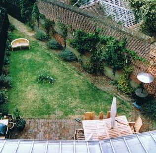 a triangular garden before