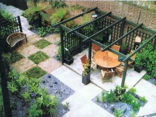 a triangular garden before after showing good use of floorscape at an angle and a pergola to break up