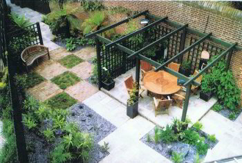 A Triangular Garden U2013 Before. After  Showing Good Use Of Floorscape At An  Angle And A Pergola To Break Up