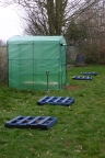 The new growing area for younger children- new greenhouse and pallet planters