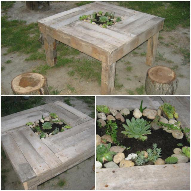 latest garden recycling projects table planter from pallets