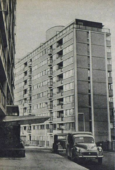 'Luxury flats, Pimlico'.  The caption and image are taken from a Picture Post article of 1955