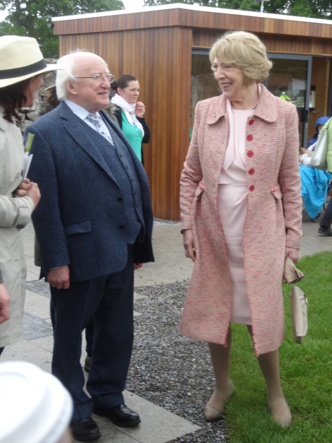 President of Ireland Michael D Higgins and his wife Sabina took care to visit small as well as large exhibits.