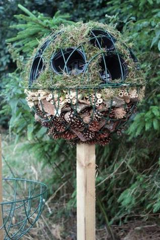nice idea using wire hanging baskets and a post to create a 'bug ball topiary tree' by wildlife gadgetman