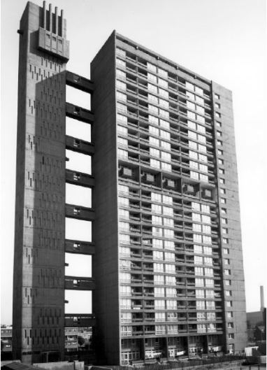 Photograph taken in 1969 showing original concrete chimneys to service tower boilers (from Brownfield Estate, Poplar Conservation Management Plan)