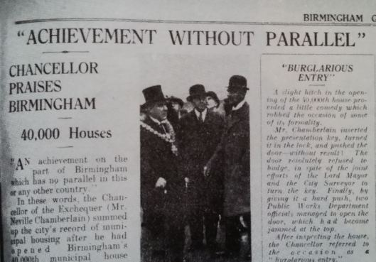 The Birmingham Gazette article marking Chamberlain's formal opening of the city's 40,000 th council home in February 1933