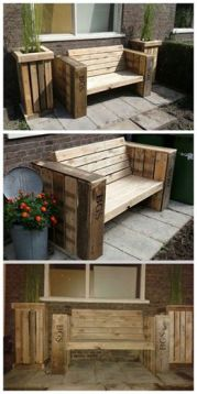 pallet bench and planters