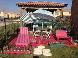 pink pallet garden set