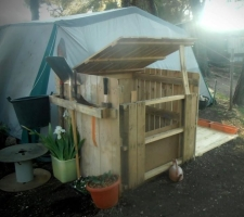 Compost bin and tool rack