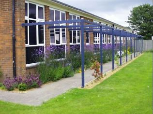 Cawston School- the pergola and 'Nectar Bar' I installed some years ago. I've just completed a Review of the gardens and grounds here.