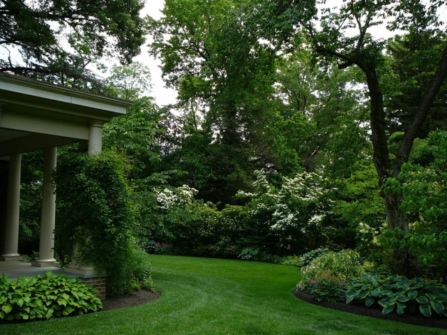 Incredible-Flowering-Shrubs-Design-ideas-for-pretty-Landscape-Traditional-design-ideas-with-columns-flowers-grass-hosta-landscape-design-Porch-shade-garden-shrubs-turf-vine