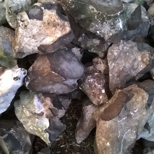 Flints courtesy of the neighbours, these will be useful in the new pond.