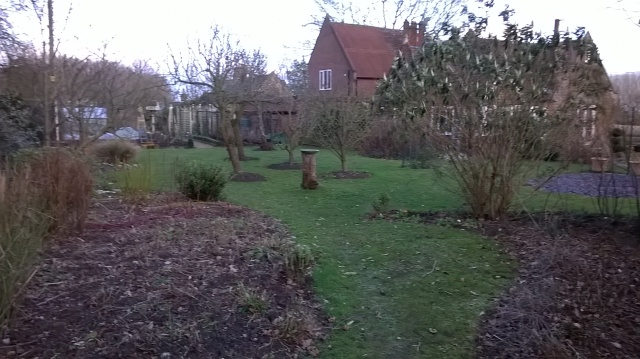 Getting there- view across the Old School Garden orchard